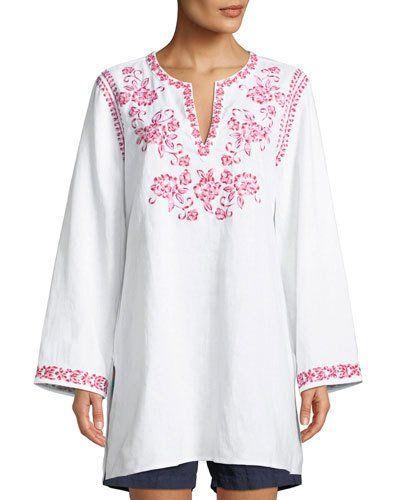 TXPQU Johnny Was Azalea Embroidered Linen Long-Sleeve Tunic, Plus Size