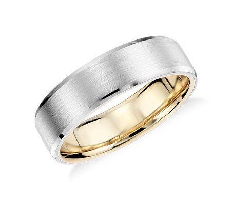 Matte Beveled Edge Wedding Ring In Platinum And 18k Yellow Gold 6mm Blue Nile Mens Wedding Rings Titanium Wedding Rings Classic Wedding Rings