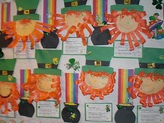 St. Patrick's Day: Have kids make hair/beards & hats to go onto the pictures that are already on bulletin board! Ahhhh LOVE!!!!