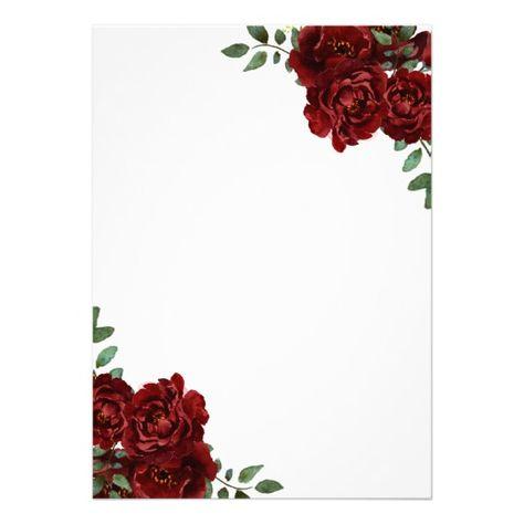 Romantic Burgundy Red Rose Quinceanera Invite