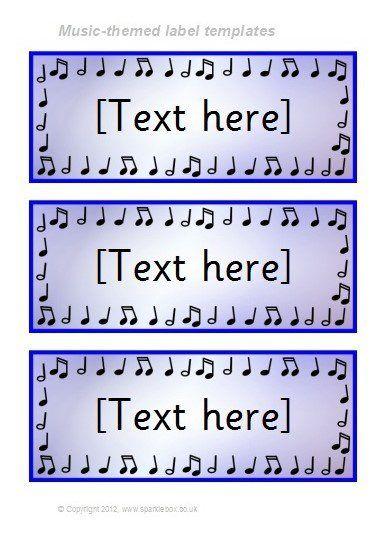 Music-Themed Classroom Label Templates (SB7711) - SparkleBox