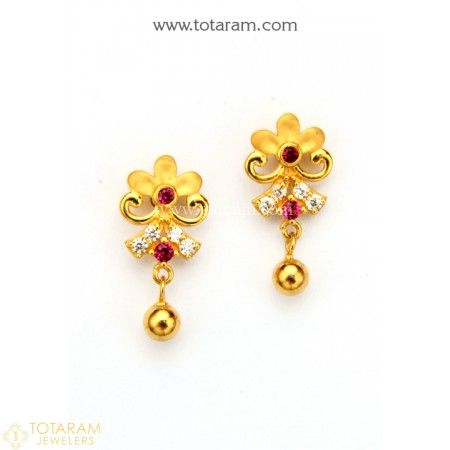 492148589 22K Gold Earrings for Women with Cz - 235-GER8805 - Buy this Latest Indian  Gold Jewelry Design in 3.350 Grams for a low price of $214.40