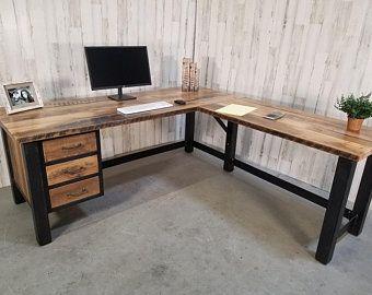 Industrial Reclaimed Wood Desk Etsy In 2021 Reclaimed Wood Desk L Shaped Corner Desk L Shaped Desk