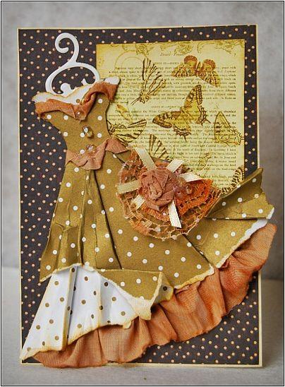 Пожеланиями доброго, платье из ткани на открытку
