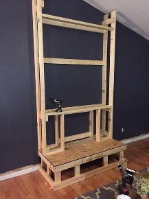 Framing the electrical fireplace insert andor building a faux diy pallet wood fireplace solutioingenieria Images