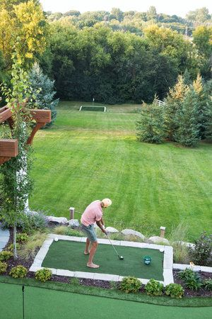 Mom S Design Build Backyard Golf Driving Range Green Backyard