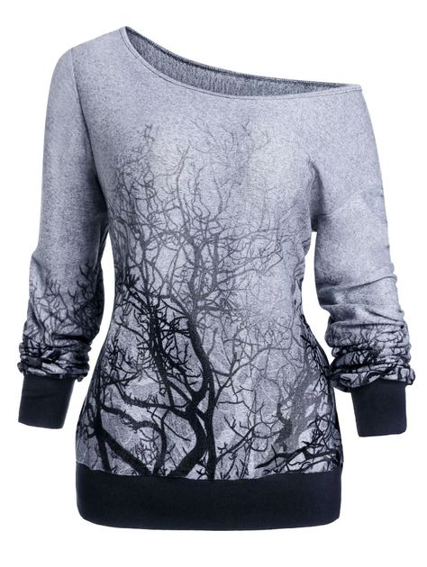 3D Tree Print Skew Neck Gothic Halloween Sweatshirt , #spon, #Skew, #Print, #Tree, #Neck, #Sweatshirt #affiliate