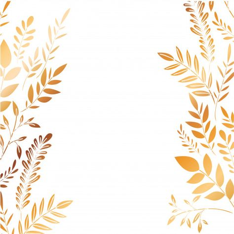 Frame with flowers and leafs golden Premium Vector