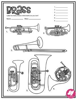 Music Coloring Pages Instrument Families Of The Orchestra