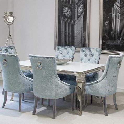 Louis White Dining Table With 4 Pewter Knocker Back Chairs