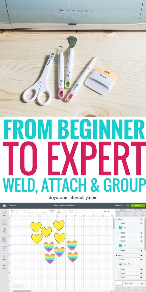 Today we are going to be covering some of the MOST IMPORTANT concepts in Cricut Design Space; Weld, Attach and Group. Learning how to, and when to use any of these tools inside Cricut Design Space will take you from rookie to expert! How To Use Cricut, Cricut Help, Cricut Explore Projects, Cricut Explore Air, Cricut Air 2, Cricut Vinyl, Cricut Cards, Cricut Craft Room, Thing 1