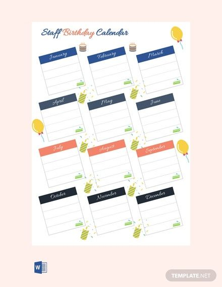 Staff Birthday Calendar Template Word Template Net Birthday Calendar Free Birthday Stuff Birthday Calender