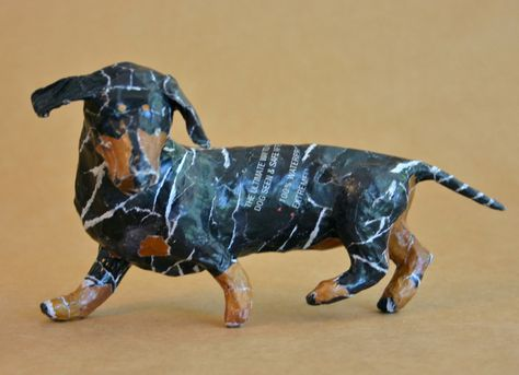 Dachshund, Unique Whimsical Paper Mache Dog Sculpture by PaperPort on Etsy https://www.etsy.com/uk/listing/151410643/dachshund-unique-whimsical-paper-mache