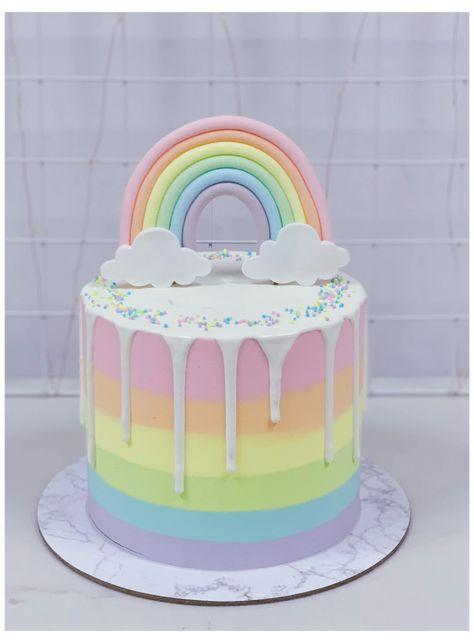 Pastel Rainbow Drip Cake with Rainbow Topper #pastel #rainbow #cake Pastel Rainbow Drip Cake with Rainbow ... Rainbow Food, Rainbow Cakes, Rainbow Pastel, Unicorn Rainbow Cake, Rainbow Baby, Rainbow Dash Cake, Fondant Rainbow, Rainbow Desserts, Rainbow Ice Cream