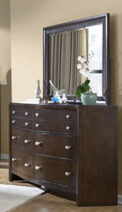Soflex Elora Espresso Finish Ribbed Wood Queen Bedroom Set 5pcs