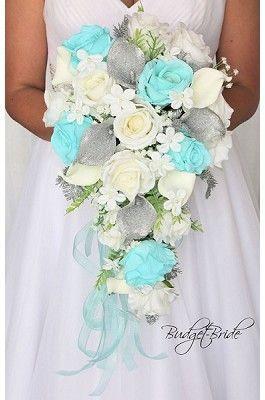 Tiffany Blue And Silver Glitter Calla Lilies Fake Cheap Wedding