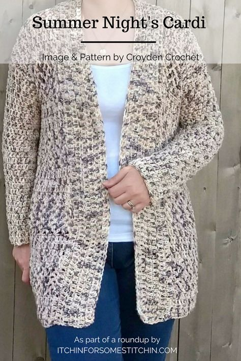 Summer Night's Cardi Pattern by Croyden Crochet - One of eleven fabulous summer cardigans in this roundup post.  It's perfect for those cool summer evening strolls along the pier or just down the street!    #roundup #cardigan #summer #kimono #womensfashion #crochet #crochetaddict #crochet #roundup   #crochetcardigan
