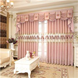 Romantic And Elegant Pink Color With Embroidered Flowers Living