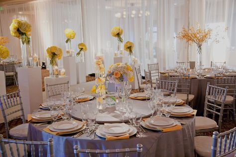 Yellow and gray wedding reception table settings yellow wedding yellow and gray wedding reception table settings yellow wedding pinterest grey weddings table settings and reception junglespirit Images