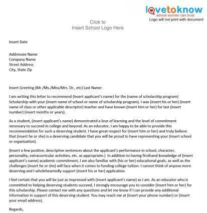 Sample Scholarship Recommendation Letter Lovetoknow Reference Letter For Student Student Scholarships Letter Of Recommendation