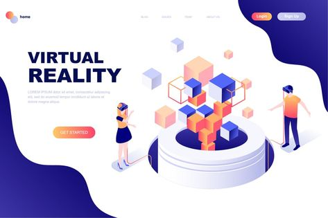Virtual Reality Isometric Landing Page Template by alexdndz on Envato Elements