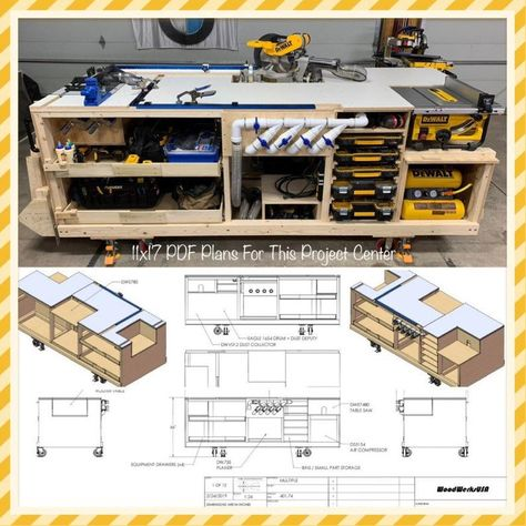 Workbench plans - Mobile Project Center Workbench Plans DeWalt Kreg Miter Saw Stand Table Saw Outfeed Router Workbench Plans Diy, Table Saw Workbench, Mobile Workbench, Woodworking Bench Plans, Woodworking Projects Diy, Miter Saw Table, Woodworking Tools, Woodworking Shop Layout, Diy Router Table