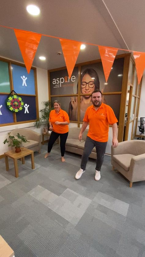 Andy's drafted Lisa into the office #blindinglightschallenge this week 🧡 He's been set a challenge... every time we hear the song Andy is to burst into the dance (and request a fellow colleague joins him!) #placingpeoplefirst #funatwork #employeeengagement #happiness