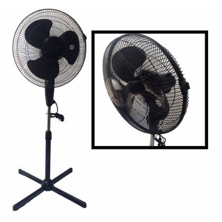 LavoHome Quiet 16 inch Black Standing Floor Fan with 3Speed
