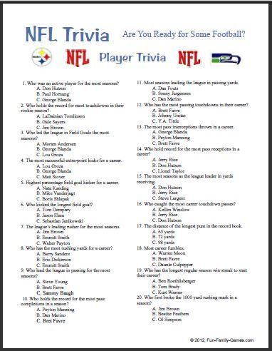 Printable Nfl Trivia Questions Trivia Trivia Questions And Answers Trivia Questions