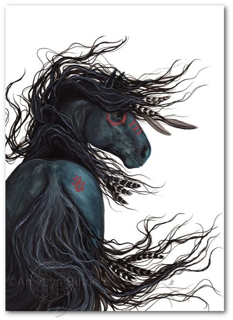 Majestic Mustang Black Stallion Native American Spirit Horse ArT-  Giclee Print 11x14 by Bihrle mm135