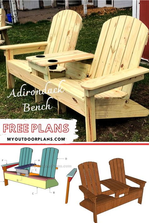 This step by step woodworking project is about double adirondack chair plans. This article features detailed instructions for building nice double adirondack chairs with table, ideal for any backyard. Wood Shop Projects, Woodworking Projects Diy, Woodworking Plans, Adirondack Chair Plans, Outdoor Furniture Plans, Cool Things To Build, Diy Wood Bench, Outdoor Chairs, Outdoor Glider