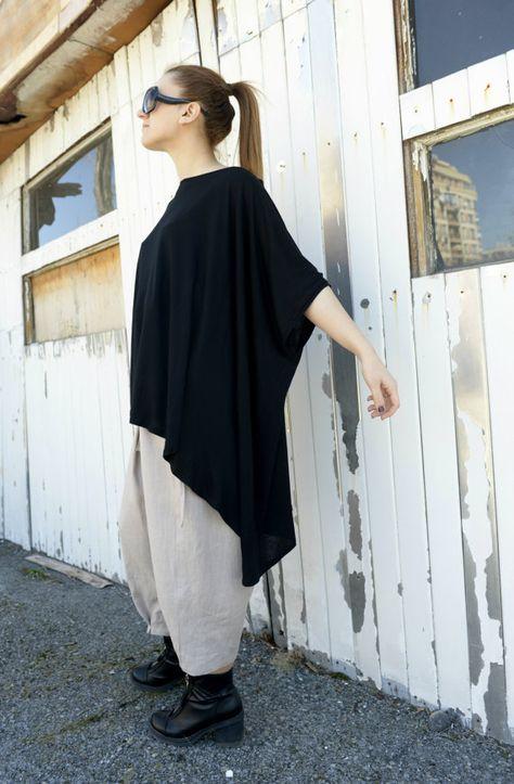 ea2cc529d41 Maxi Black Top   Asymmetric Tunic   Loose Oversize by Metamorphoza ...