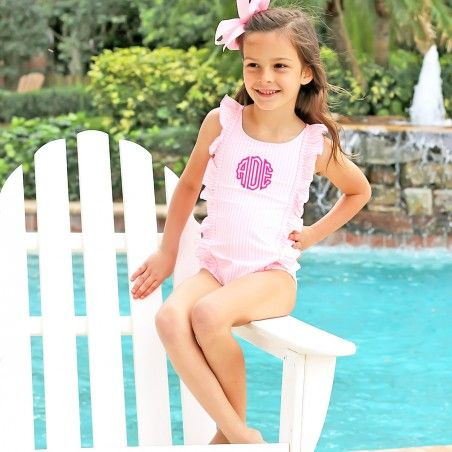 Wild About Me Infant//Toddler Girls Stretch Seersucker ONE Piece Swimsuit