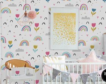 Removable Wallpaper Mural Peel Stick Nursery Wallpaper Lovely Field Flowers Self Adhesive Wallpaper In 2020 Nursery Wallpaper Stick On Wallpaper Rainbow Nursery