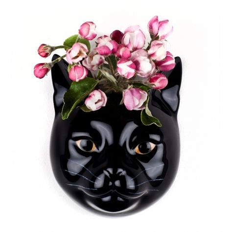 Black Cat Ceramic Flower Vase By Quail Lucky Looks Great With Or Without Flowers