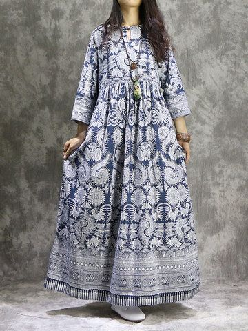 ebcc0d29ad3df Women Ethnic Printed 3/4 Sleeve Vintage Maxi Dresses Online - NewChic Mobile