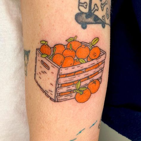 """🦐 Kat 🦐 on Instagram: """"Lil box of sentimental tangerines for Jessica 🍊 1 of 3 tats from our all-day session. Thanks for sittin pretty Jessica!"""""""