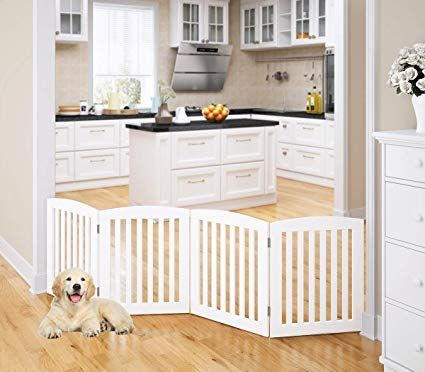 Pawland Wooden Freestanding Foldable Pet Gate For Dogs 24 Inch 4
