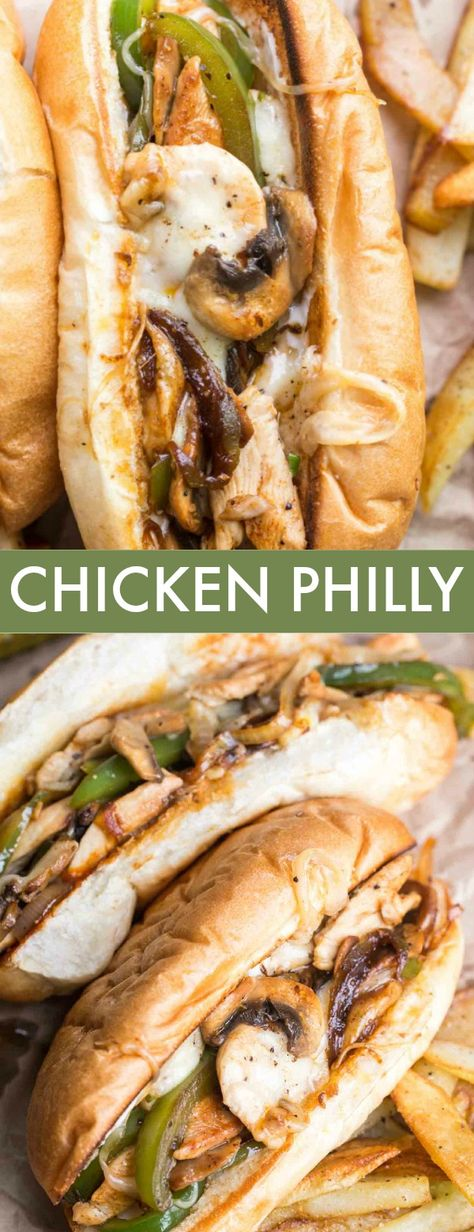 Chicken Philly Cheese Steak Sandwich The easiest Chicken Philly Cheesesteak Sandwich recipe. Thin slices of chicken sautéed with peppers, onions, and mushroom and loaded with cheese served with a hoagie roll. Chicken Philly Cheesesteak, Philly Cheese Steaks, Gourmet Sandwiches, Steak Sandwich Recipes, Dinner Sandwiches, Chicken Cheese Steak Sandwich Recipe, Hoagie Roll Recipe, Hoagie Sandwiches, Grilled Chicken Sandwiches