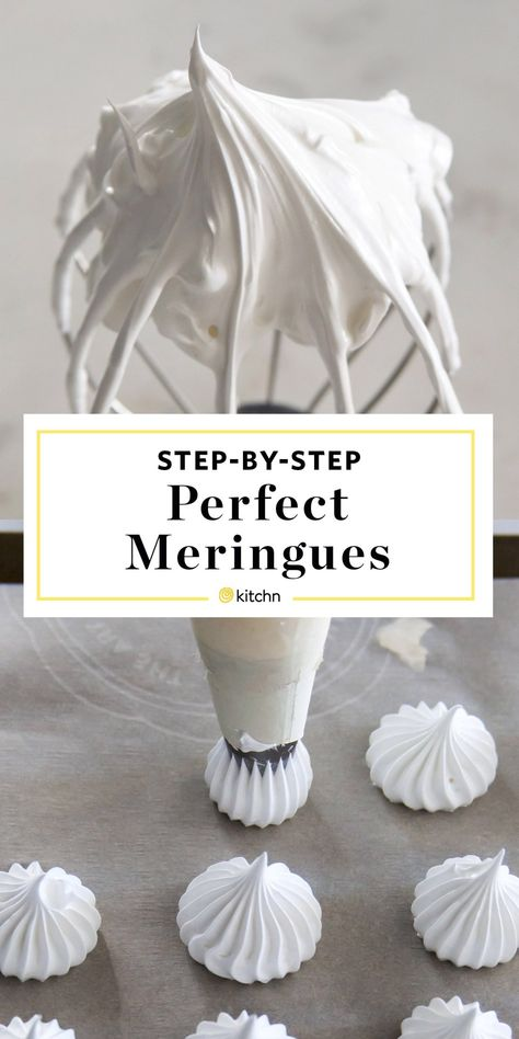 How to Make a French Meringue Cookies Recipe. So simple, easy, and pure, meringues are the lightest, almost cloud-like cookies and pastries with a crisp outer French Meringue Cookies Recipe, Baked Meringue, Meringue Desserts, Köstliche Desserts, Delicious Desserts, How To Make Meringue, Meringue Kisses, Making Meringue, Meringue Cookies