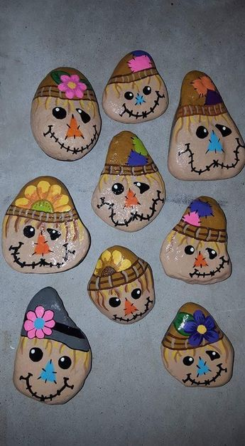 Scarecrow Free Hand Painted Rocks Rock Crafts Hand Painted Rocks Rock Decor