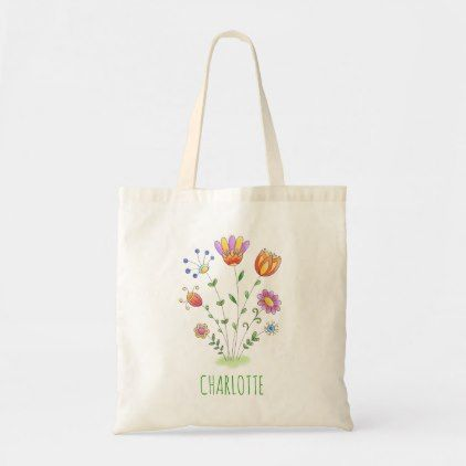 Watercolor Floral Illustration Cute Doodle Flowers Tote Bag