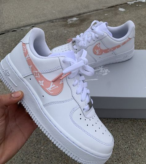 aesthetic shoes sneakers LV Air Force 1 (Read Description) by customsbyuriel Jordan Shoes Girls, Girls Shoes, Pink Shoes, Ladies Shoes, Yellow Shoes, Silver Shoes, Zapatillas Nike Air Force, Nike Af1, Souliers Nike