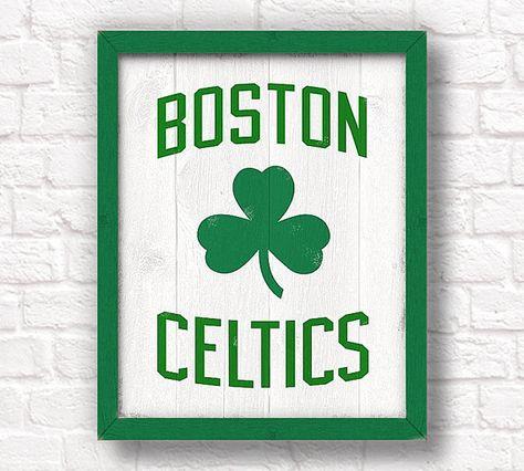 "Boston Celtics - rustic wall hanging 16""x20"" handmade sign - Celtics"
