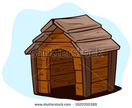Cartoon Brown Wooden Dog House Kennel On Blue Background Vector