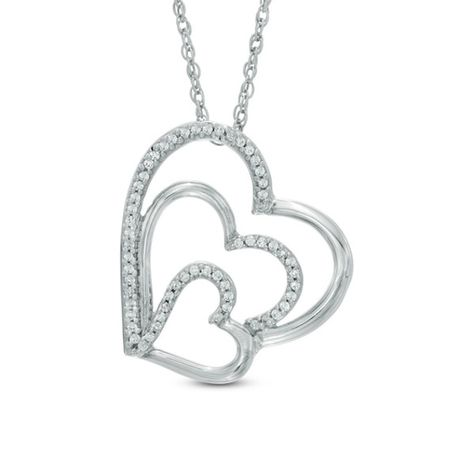 A brilliant expression of love, this diamond tilted heart pendant will take her breath away. Created in sleek sterling silver, this design features a trio of open hearts nestled one inside the other. Shimmering diamonds adorn each heart, adding eye-catching sparkle. Radiant with 1/6 ct. t.w. of diamonds and a polished shine, this pendant suspends slightly askew along an 18.0-inch rope chain that secures with a spring-ring clasp.