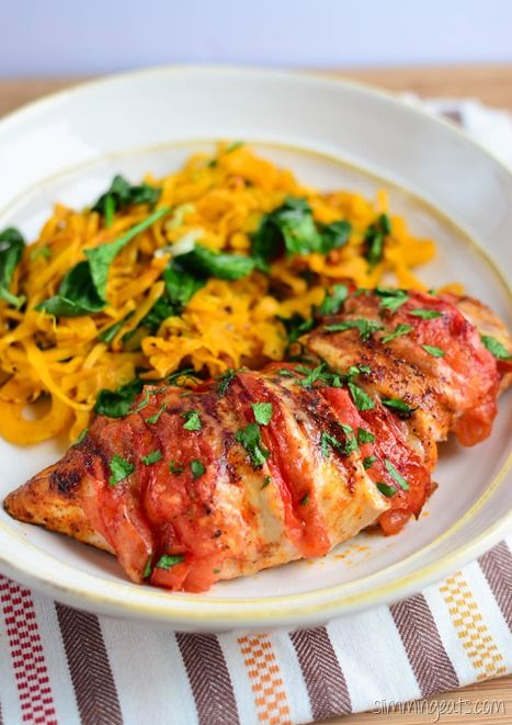 Slimming Eats - Tomato and Mozzarella Stuffed Chicken - Gluten free, Paleo, Slimming World (SP) and Weight Watchers friendly