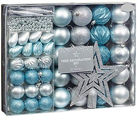 New Style Room Decoration Christmas Tree Decoration Set 50pc Ice Blue Blue Christmas Tree Decorations Silver Christmas Decorations Christmas Tree Decorations