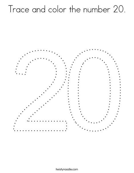 Trace And Color The Number 20 Coloring Page Twisty Noodle Coloring Pages Color Mini Books