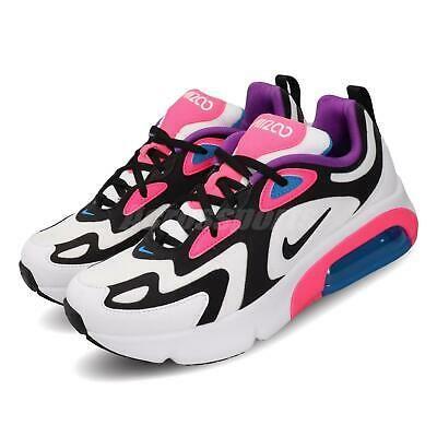 Nike Air Max 200 Gs White Black Hyper Pink Kid Women Running Shoes At5630 100 Nike Air Shoes Kids Running Shoes Nike Air Max